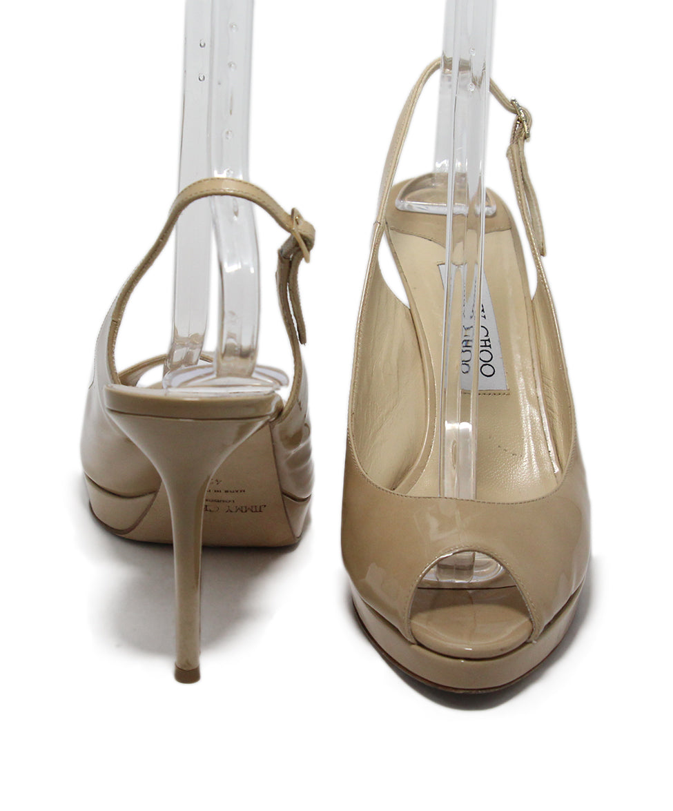 Jimmy Choo Neutral Patent Leather Heels 3