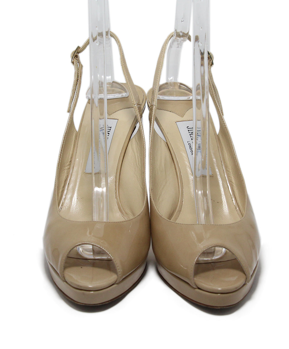 Jimmy Choo Neutral Patent Leather Heels 4