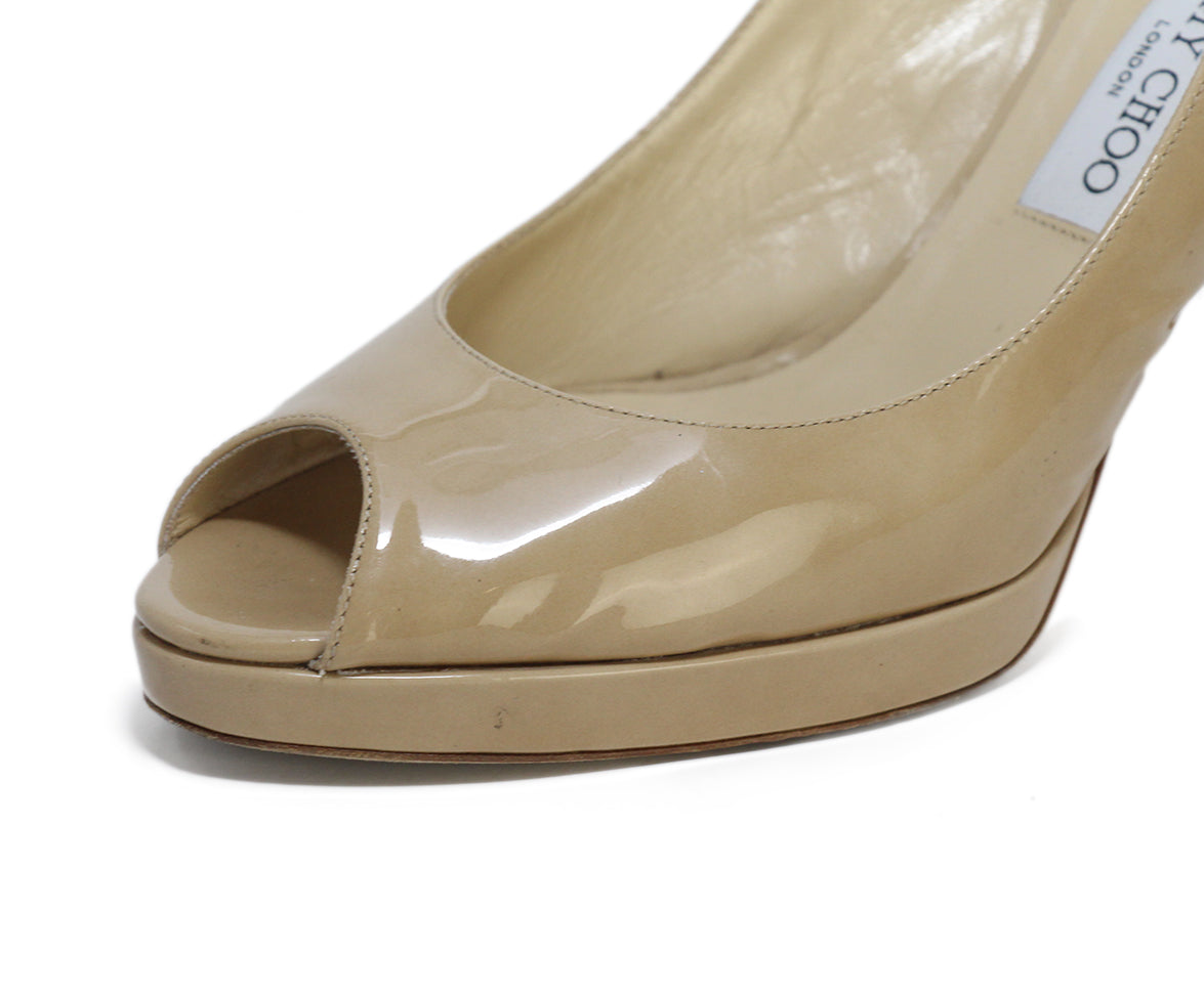 Jimmy Choo Neutral Patent Leather Heels 8