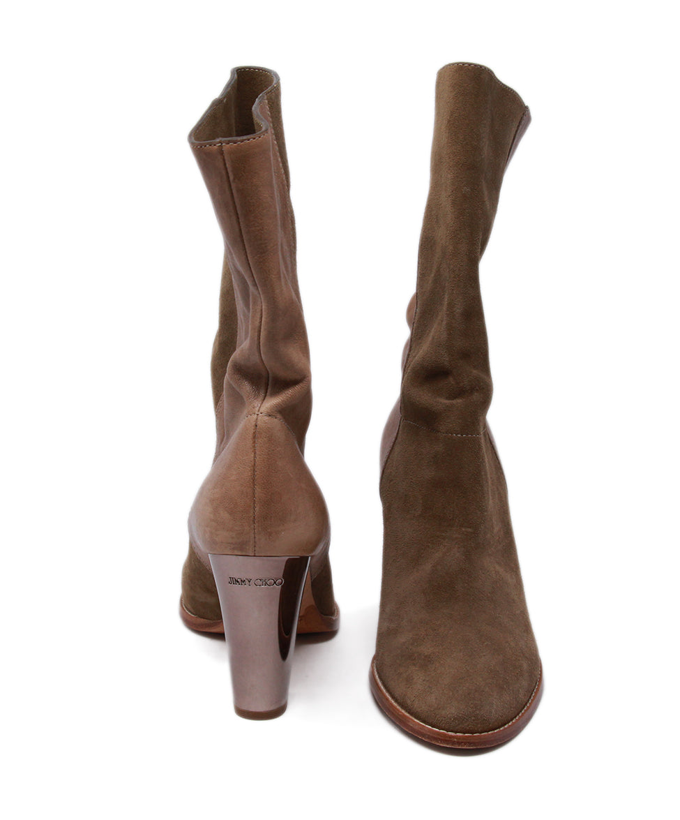 Jimmy Choo Neutral Tan Suede Booties 3