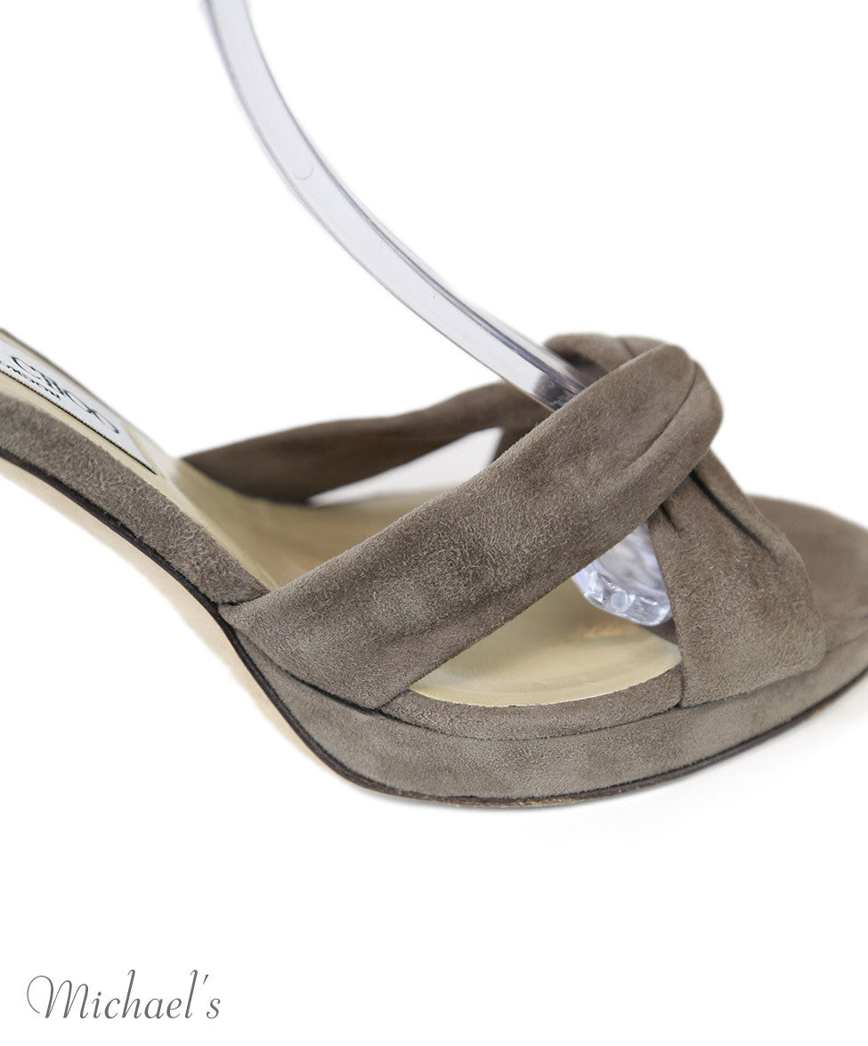 Jimmy Choo Taupe Suede Shoes Sz 37