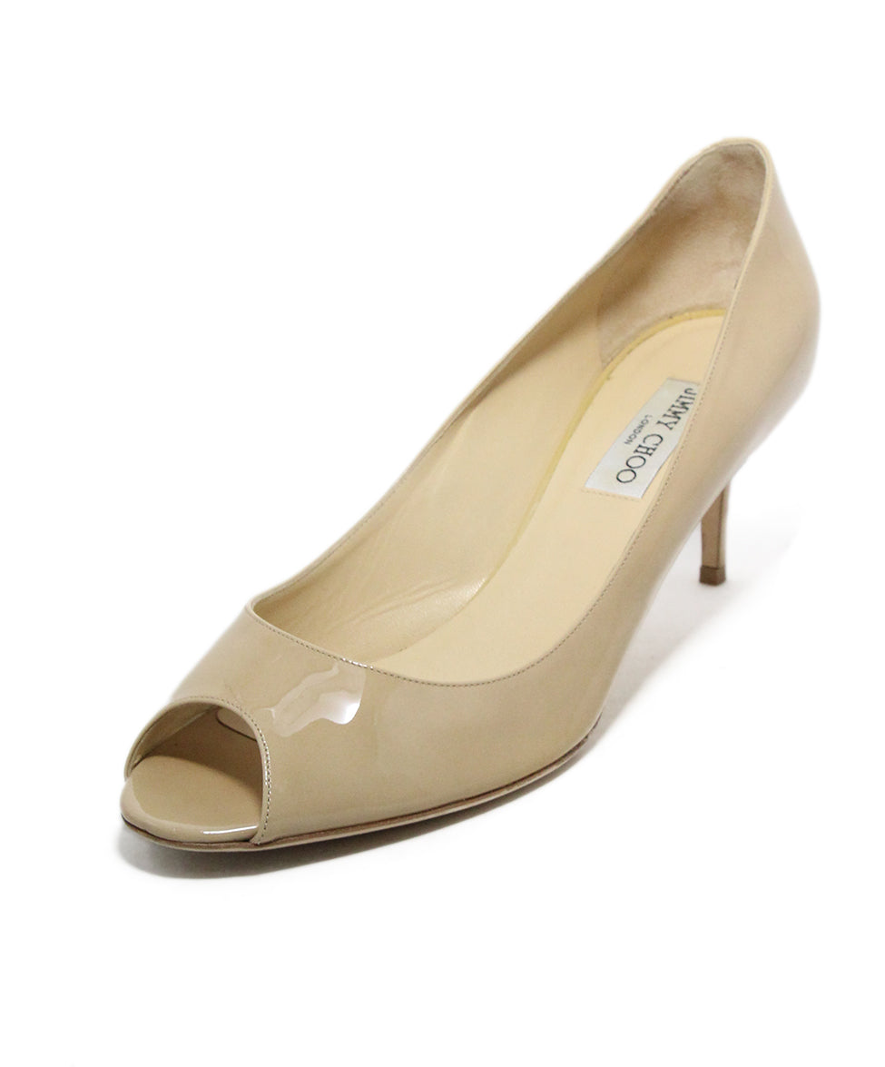 cbff316971c73 Jimmy Choo US 11.5 Neutral Nude Patent Leather Peep Toe Shoes ...