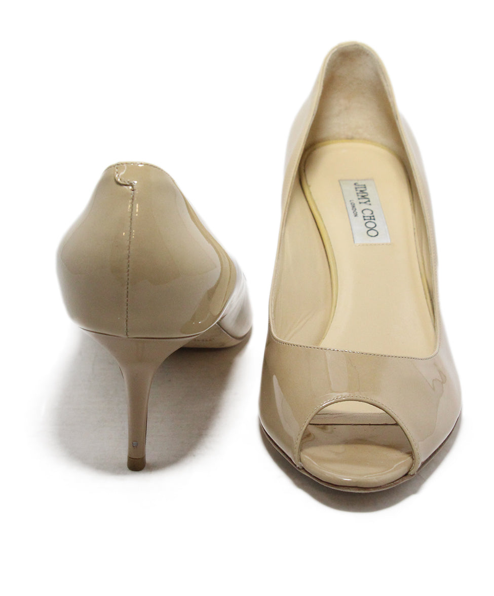 Jimmy Choo Nude patent leather peep toe shoes 3