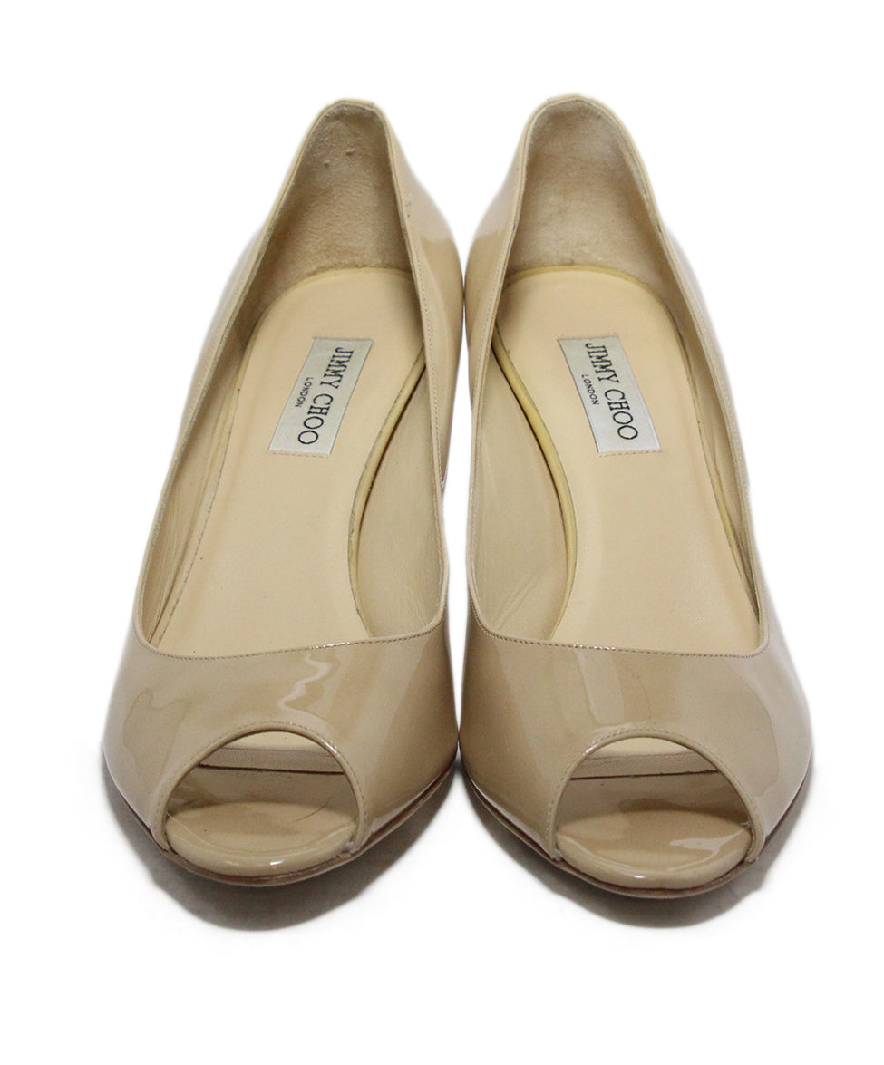 Jimmy Choo Nude patent leather peep toe shoes 4