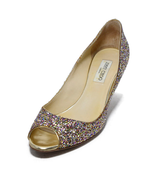 Jimmy Choo Gold Glitter Pink Shoes 1