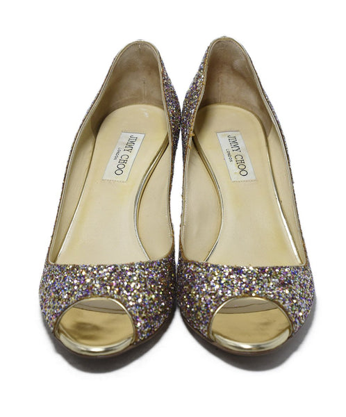 Jimmy Choo Gold Glitter Pink Shoes 4