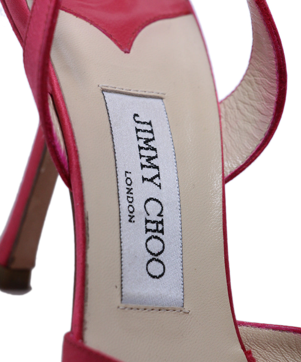 Jimmy Choo Pink Satin Heels 7