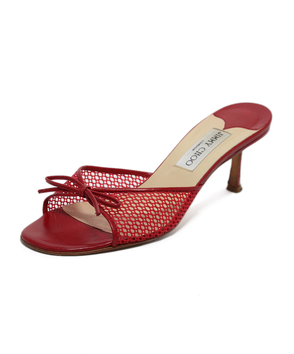 Jimmy Choo Red Mesh Leather Heels 1