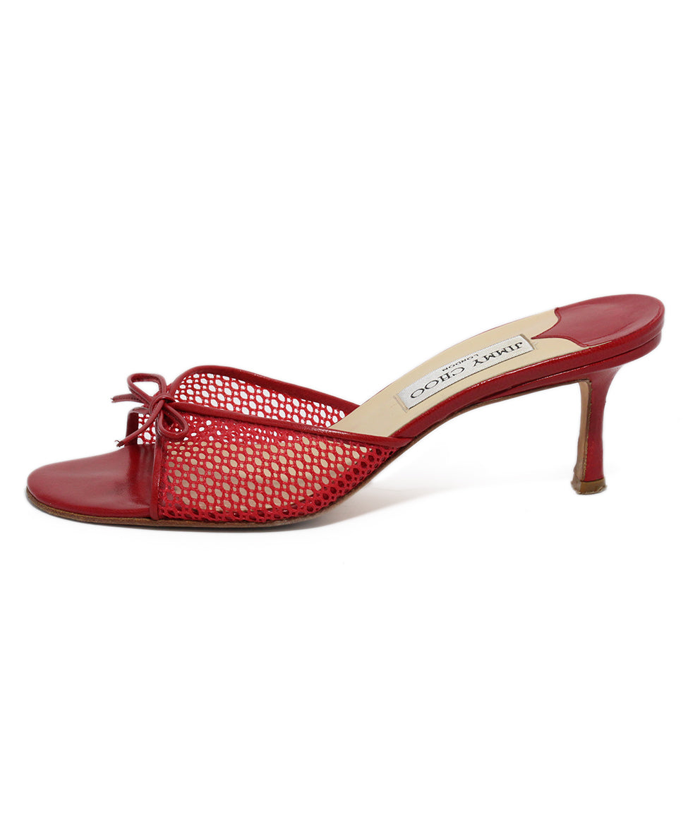 Jimmy Choo Red Mesh Leather Heels 2