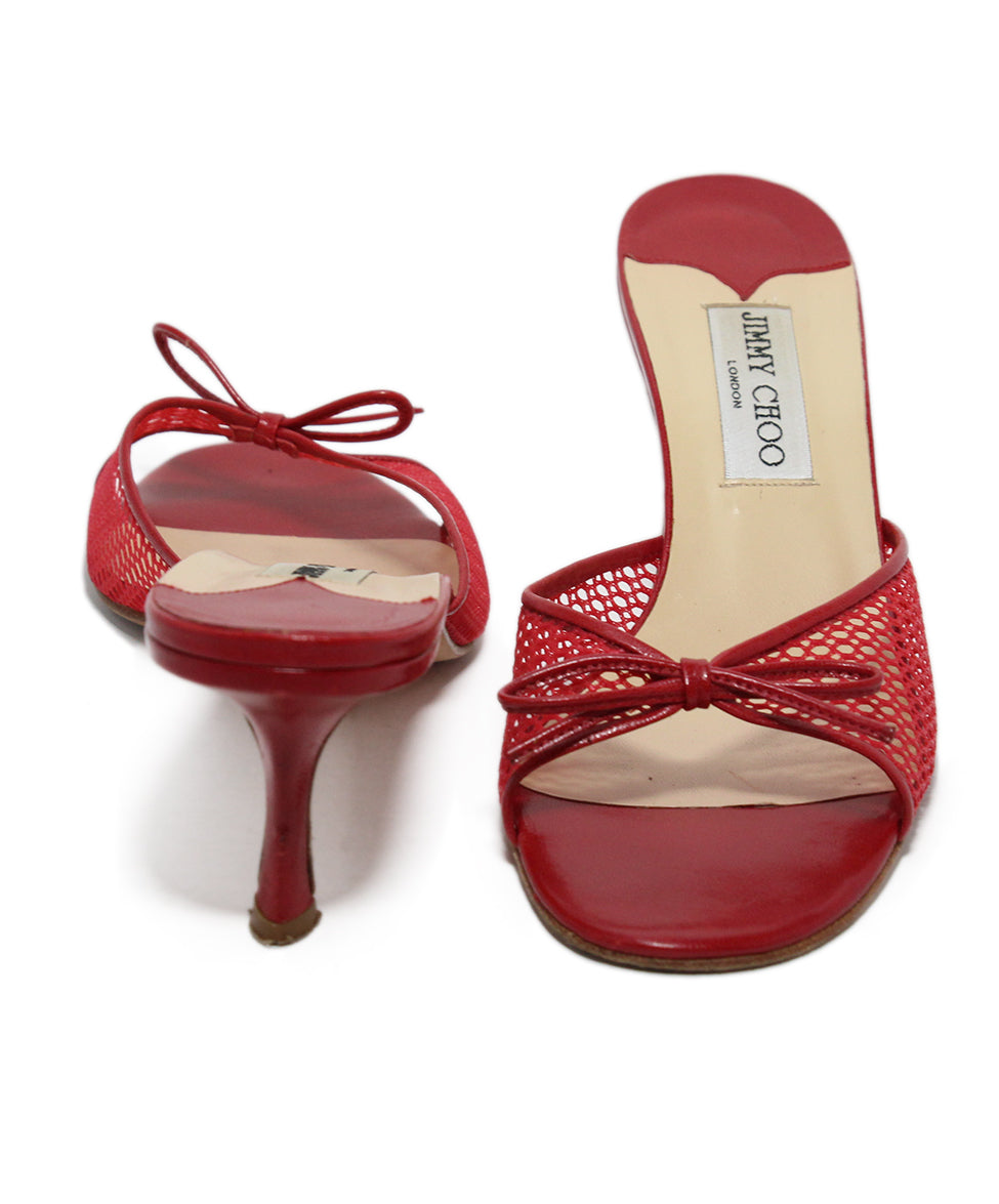 Jimmy Choo Red Mesh Leather Heels 3