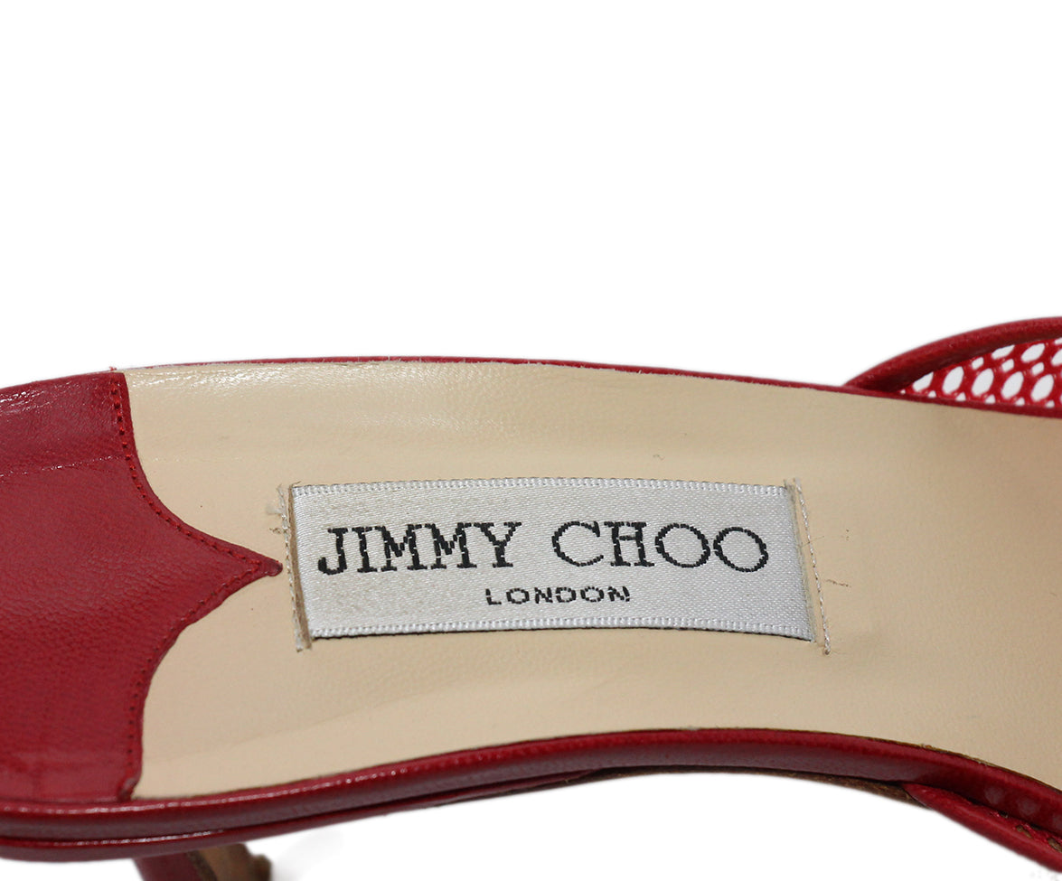 Jimmy Choo Red Mesh Leather Heels 7