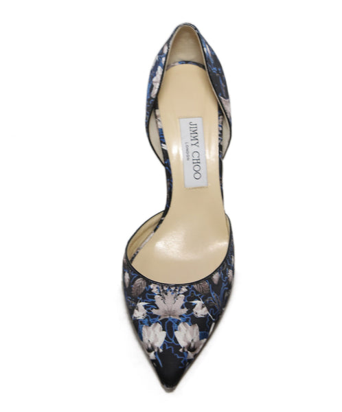 Jimmy Choo Black and Taupe Leaf Print Heels 1