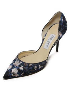 Jimmy Choo Black and Taupe Leaf Print Heels 2