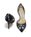 Jimmy Choo Black and Taupe Leaf Print Heels 3