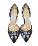 Jimmy Choo Black and Taupe Leaf Print Heels 4