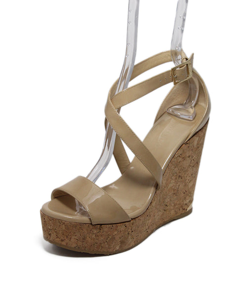 Jimmy Choo Tan Patent Leather Wedge 1