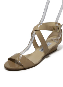 Jimmy Choo Beige Patent Leather Wedges 2
