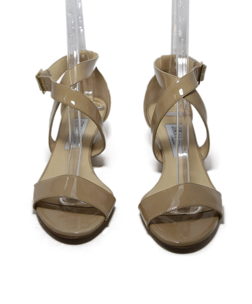 Jimmy Choo Beige Patent Leather Wedges 4