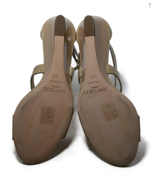 Jimmy Choo Beige Patent Leather Wedges 5