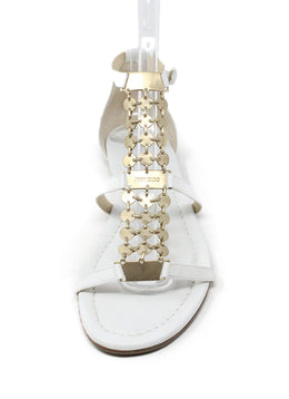 Sandals Jimmy Choo Shoe Size White Leather Gold Trim Shoes 2