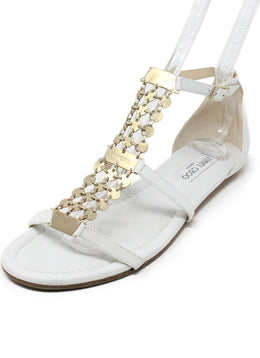 Sandals Jimmy Choo Shoe Size White Leather Gold Trim Shoes 1