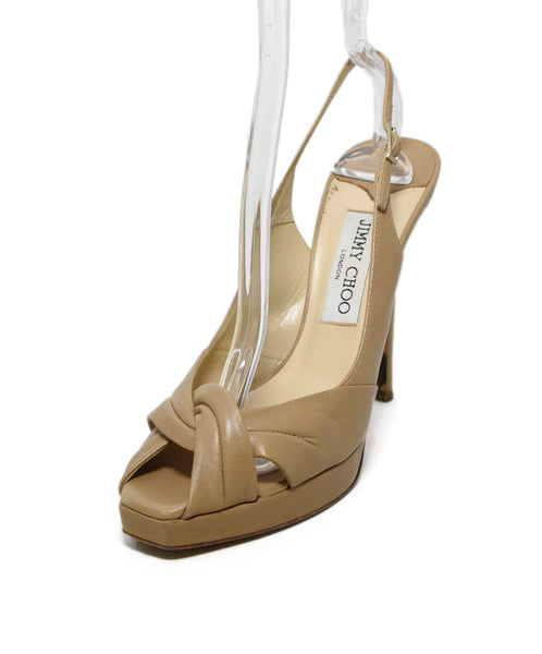 Jimmy Choo Beige Leather Platform Heels 1
