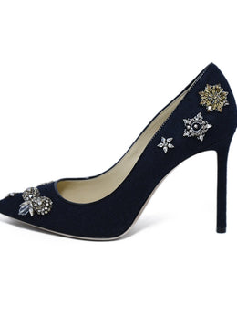 Jimmy Choo Black Fabric Rhinestone Trim Heels 2