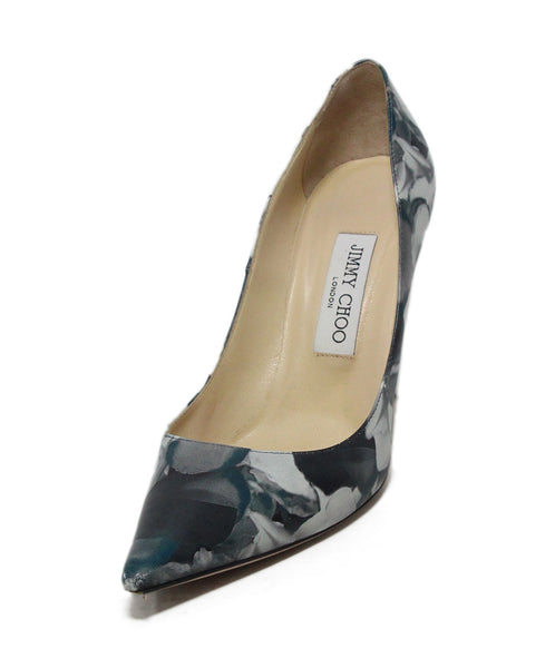Jimmy Choo black green print leather heels 1