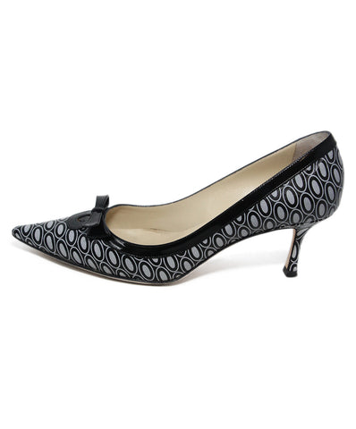 Jimmy Choo Black Grey Print Leather Heels 1