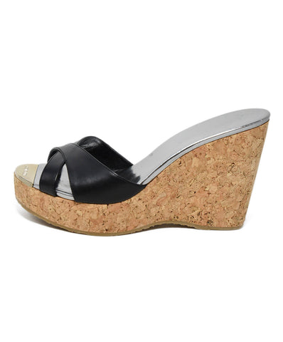 Jimmy Choo Black Leather Cork Wedge Sandals 1