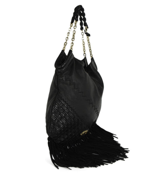 "Jimmy Choo Black Leather Fringe Handbag ""As Is"" 