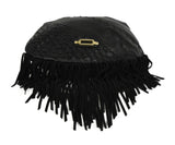 Jimmy Choo Black Leather Fringe Handbag