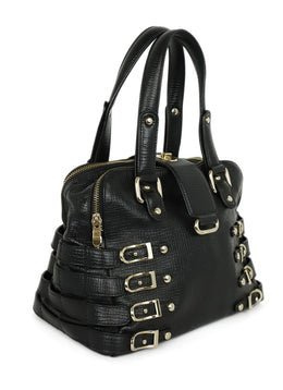 Satchel Gold Hardware Jimmy Choo Black Leather Buckle Handbag 2