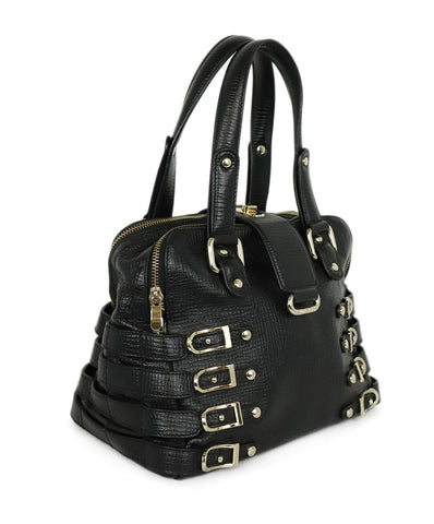 Satchel Gold Hardware Jimmy Choo Black Leather Buckle Handbag 1