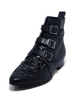 Jimmy Choo Black Leather Perforated Trim Buckle Booties 1