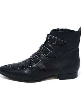 Jimmy Choo Black Leather Perforated Trim Buckle Booties 2