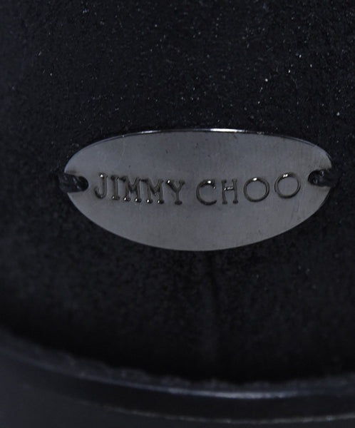Jimmy Choo Black Leather Rhinestone Trim Buckle Detail Booties 10