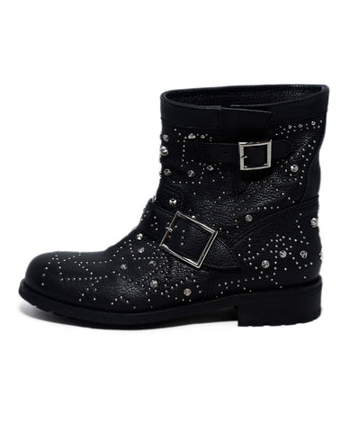 Jimmy Choo Black Leather Silver Studs Booties 1