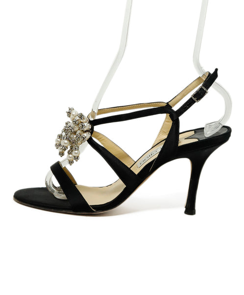 Jimmy Choo Black Satin Pearl Rhinestones Trim Heels 1