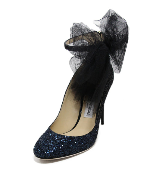 Jimmy Choo Blue Navy Black Glitter Tulle Heels 1