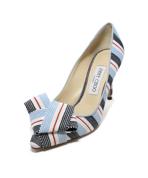 Jimmy Choo blue black red stripes canvas heels 1