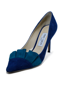 Jimmy Choo Blue and Green Suede Heels sz. 39 | Jimmy Choo
