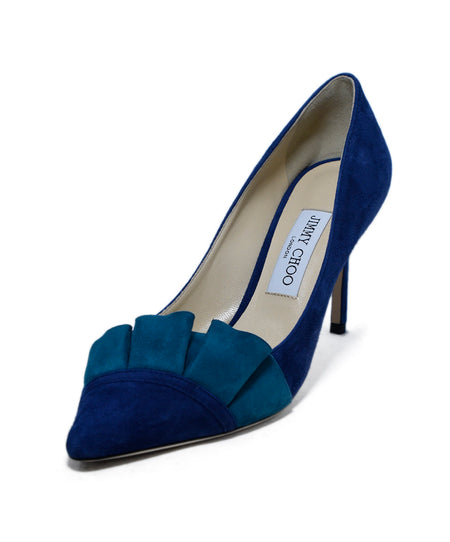 Sergio Rossi Purple Blue Suede Bag Heels, Sz. 38