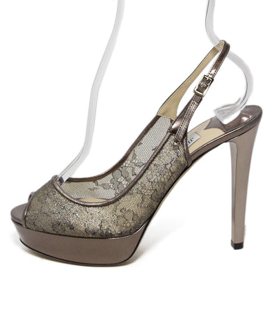Jimmy Choo Bronze Leather Lace Trim Heels 1