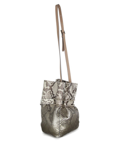 Jimmy Choo brown cream python bucket bag 1