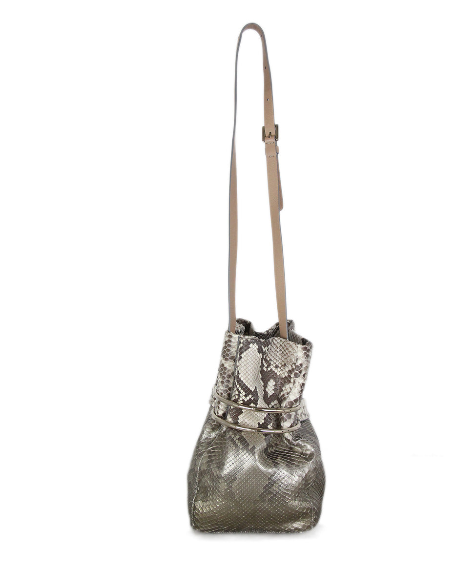 Jimmy Choo brown cream python bucket bag 3