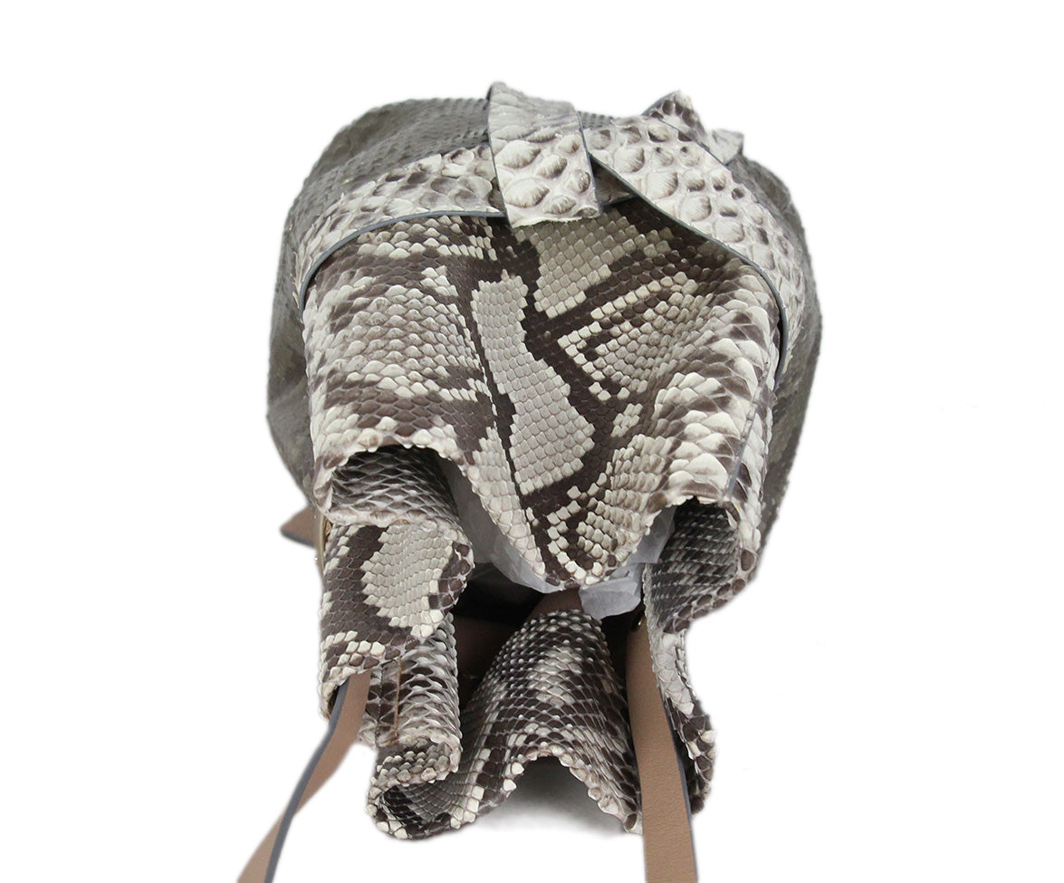 Jimmy Choo brown cream python bucket bag 5