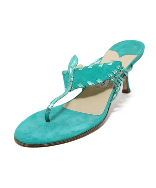 Jimmy Choo green aqua suede sandals 1
