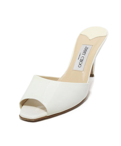 Jimmy Choo ivory patent leather slides 1