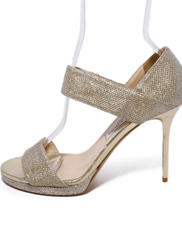 Jimmy Choo Metallic Gold Glitter Lurex Heels 2